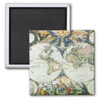 Mapa de Viejo Mundo antiguo del vintage por las su Imán De Nevera