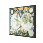 Mapa de Viejo Mundo antiguo del vintage por las su Impresiones En Lienzo Estiradas