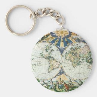 Mapa de Viejo Mundo antiguo del vintage por las su Llavero Personalizado