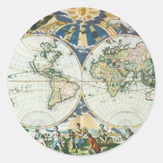 Mapa de Viejo Mundo antiguo del vintage por las su Etiquetas Redondas