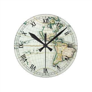 Mapa de Viejo Mundo antiguo del vintage por las su Relojes De Pared