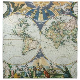 Mapa de Viejo Mundo antiguo del vintage por las su Servilleta Imprimida