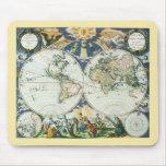 Mapa de Viejo Mundo antiguo del vintage por las su Alfombrillas De Raton