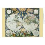 Mapa de Viejo Mundo antiguo del vintage por las su Tarjetón