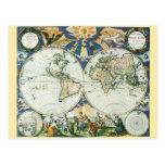 Mapa de Viejo Mundo antiguo del vintage por las su Tarjeta Postal