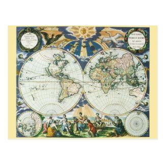 Mapa de Viejo Mundo antiguo del vintage por las Postal