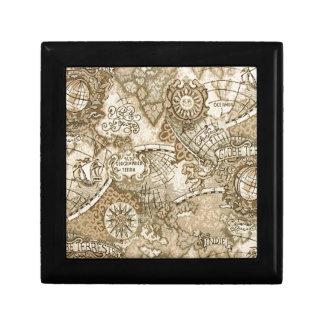 Mapa de Viejo Mundo antiguo Joyero Cuadrado Pequeño