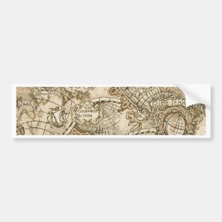 Mapa de Viejo Mundo antiguo Pegatina De Parachoque