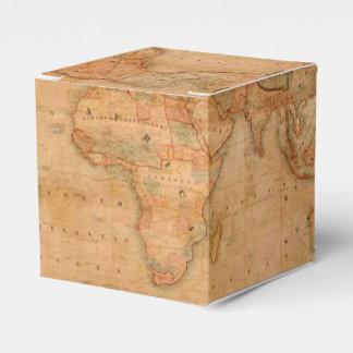 Mapa de Viejo Mundo antiguo rústico del vintage Cajas Para Detalles De Boda