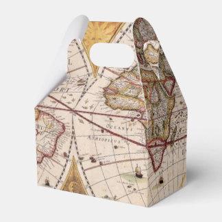Mapa de Viejo Mundo antiguo rústico del vintage IV Caja Para Regalos De Fiestas