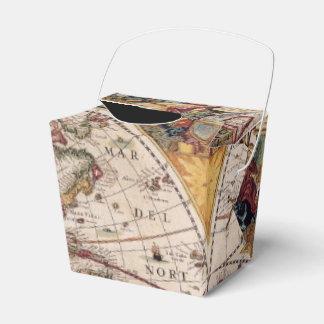 Mapa de Viejo Mundo antiguo rústico del vintage IV Cajas Para Regalos De Boda