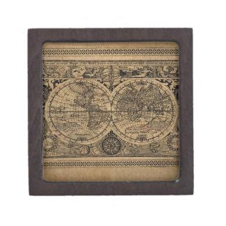 Mapa de Viejo Mundo Caja De Recuerdo De Calidad