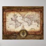 Mapa de Viejo Mundo con el compás Impresiones