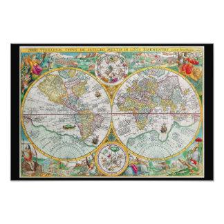 Mapa de Viejo Mundo con las ilustraciones colorida Foto