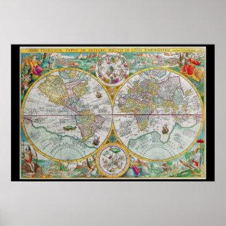 Mapa de Viejo Mundo con las ilustraciones colorida Póster