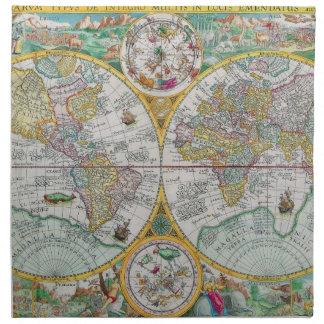 Mapa de Viejo Mundo con las ilustraciones colorida Servilletas