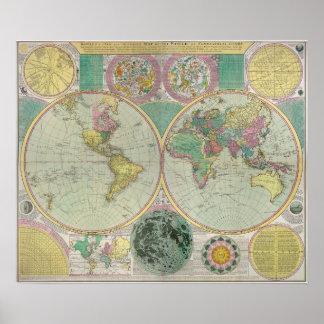 Mapa de Viejo Mundo con viaje de la antigüedad de  Póster