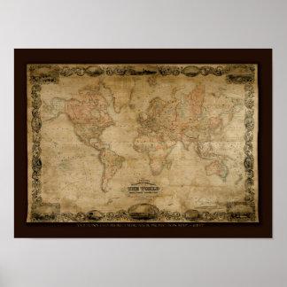 Mapa de Viejo Mundo de COLTONS c1847 Impresiones