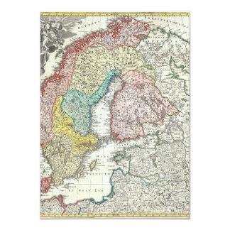 """Mapa de Viejo Mundo de Europa del Norte Invitación 4.5"""" X 6.25"""""""