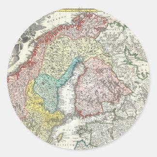 Mapa de Viejo Mundo de Europa del Norte Etiquetas Redondas