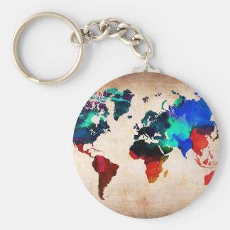 Mapa de Viejo Mundo de la acuarela lindo Llavero Redondo Tipo Pin