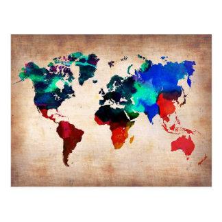 Mapa de Viejo Mundo de la acuarela lindo Tarjetas Postales