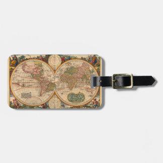 Mapa de Viejo Mundo de Nicolás Visscher Etiqueta De Maleta