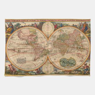 Mapa de Viejo Mundo de Nicolás Visscher Toallas De Cocina