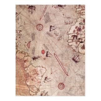 Mapa de Viejo Mundo de Piri Reis Tarjetas Postales