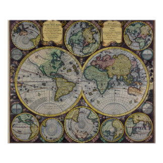 Mapa de Viejo Mundo del siglo XVII - viaje antiguo Impresiones