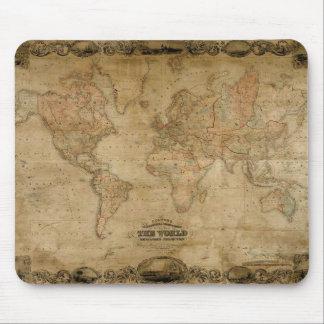 Mapa de Viejo Mundo del vintage c1847 Colton Mouse Alfombrillas De Raton