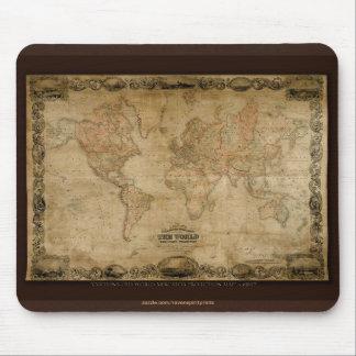 Mapa de Viejo Mundo del vintage c1847 Colton Mouse Tapetes De Ratón