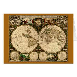 Mapa de Viejo Mundo del vintage Tarjeta De Felicitación