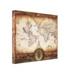 Mapa de Viejo Mundo del vintage y rosa de compás Impresión En Lienzo Estirada