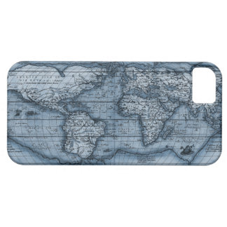Mapa de Viejo Mundo en azul Funda Para iPhone SE/5/5s
