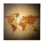 mapa de Viejo Mundo en el papel arrugado vintage Tejas Cerámicas