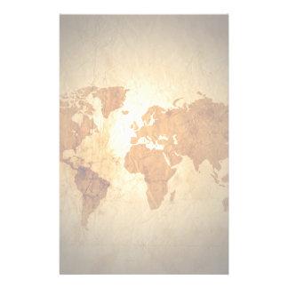 mapa de Viejo Mundo en el papel arrugado vintage Papelería Personalizada