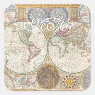 Mapa de Viejo Mundo en hemisferios dobles, 1794 Pegatina Cuadrada