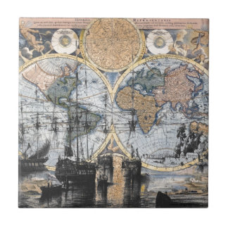 Mapa de Viejo Mundo - hacia fuera al mar Azulejo Cuadrado Pequeño