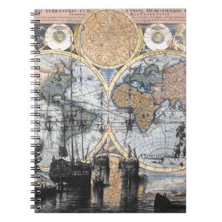 Mapa de Viejo Mundo - hacia fuera al mar Libreta Espiral