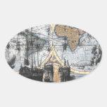 Mapa de Viejo Mundo - hacia fuera al mar Pegatinas Ovaladas