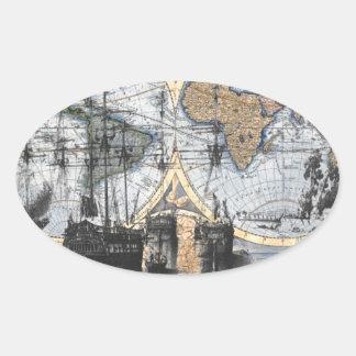 Mapa de Viejo Mundo - hacia fuera al mar Pegatina Ovalada