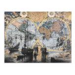 Mapa de Viejo Mundo - hacia fuera al mar Tarjeta Postal