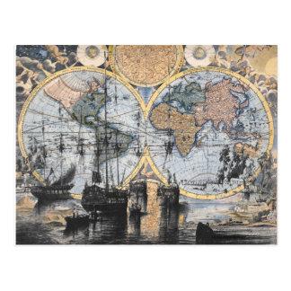 Mapa de Viejo Mundo - hacia fuera al mar Tarjetas Postales