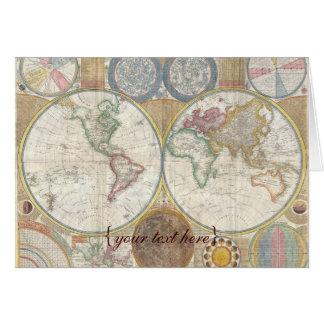 Mapa de Viejo Mundo histórico, 1794 - espacio en b Felicitaciones