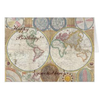 Mapa de Viejo Mundo histórico, 1794 - feliz Tarjeta De Felicitación