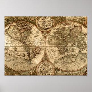 mapa de Viejo Mundo Poster