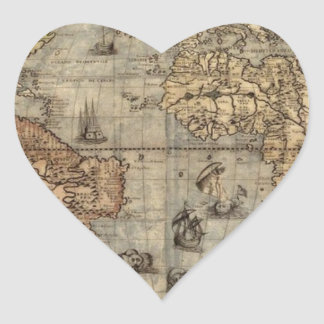 Mapa de Viejo Mundo Pegatina En Forma De Corazón