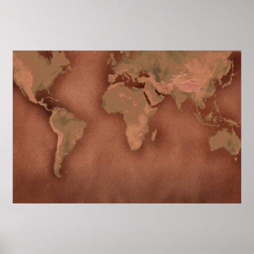 mapa de Viejo Mundo Póster