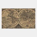 Mapa de Viejo Mundo Rectangular Pegatina